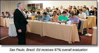 Ed Brodow and participants at negotiation seminar in Brazil
