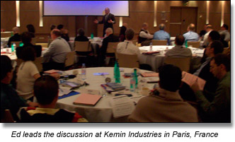 Ed Brodow and participants at negotiation seminar in Paris, France